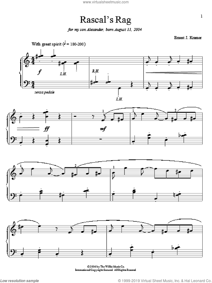 Rascal's Rag sheet music for piano solo (elementary) by Ernest J. Kramer. Score Image Preview.