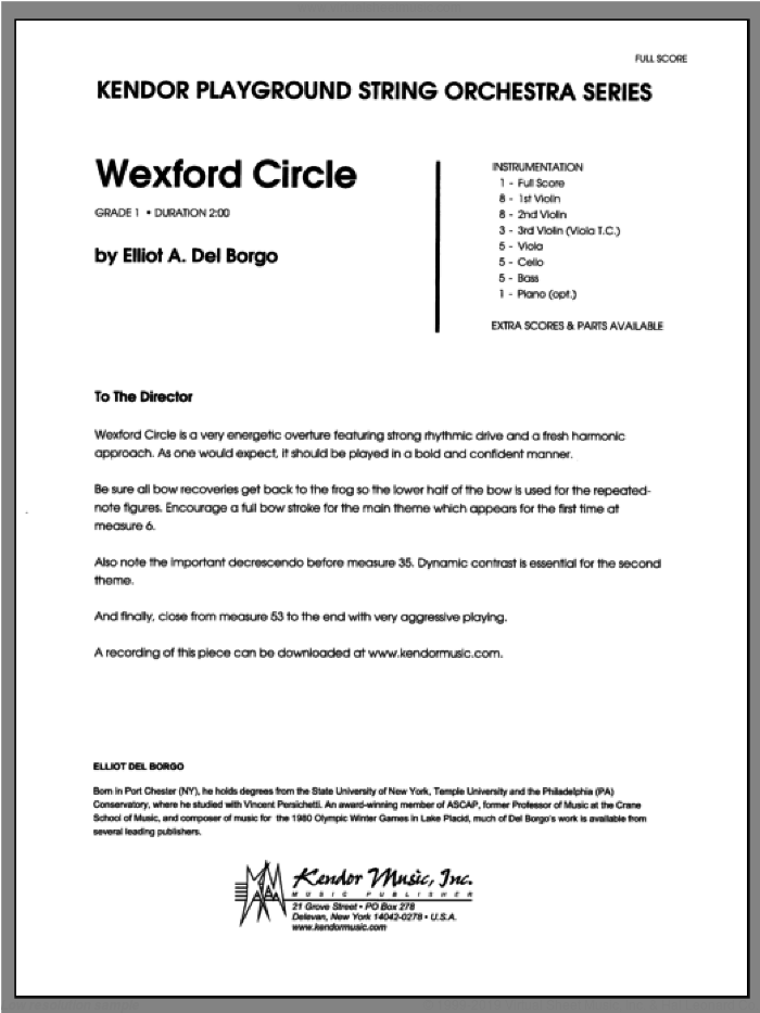 Wexford Circle (COMPLETE) sheet music for orchestra by Del Borgo, classical score, intermediate