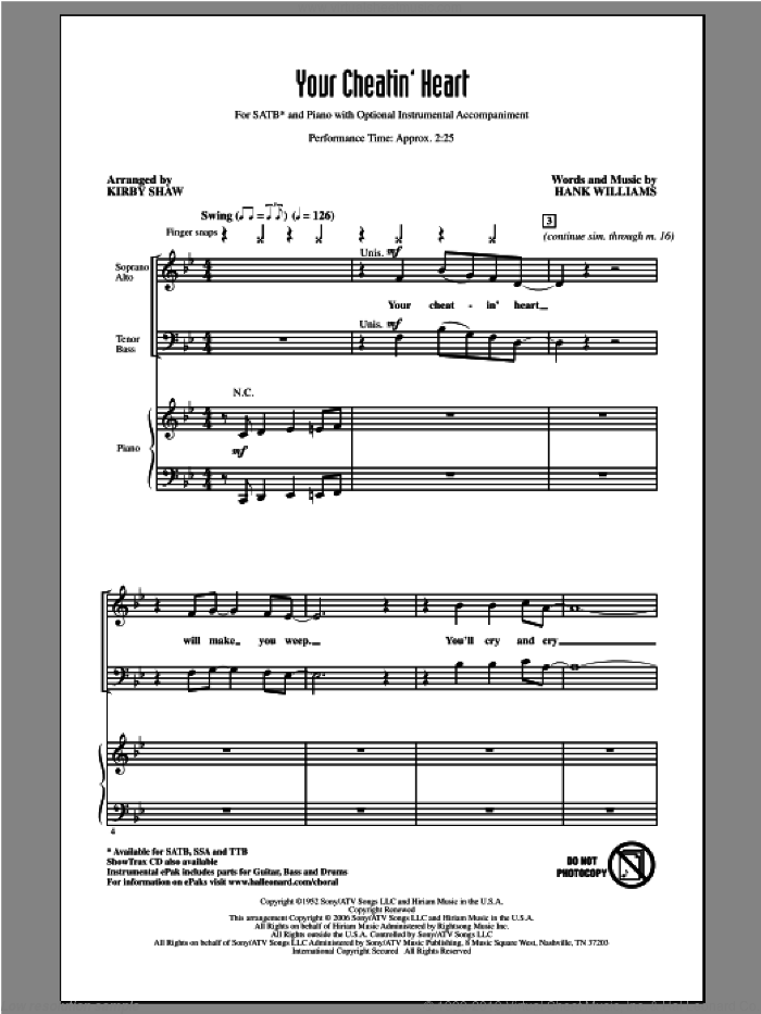 Your Cheatin' Heart sheet music for choir and piano (SATB) by Kirby Shaw, Hank Williams and Patsy Cline. Score Image Preview.