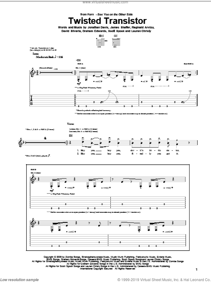 Twisted Transistor sheet music for guitar (tablature) by Scott Spock, Korn, David Randall Silveria, Graham Edwards, James Shaffer, Jonathan Davis, Lauren Christy and Reginald Arvizu. Score Image Preview.