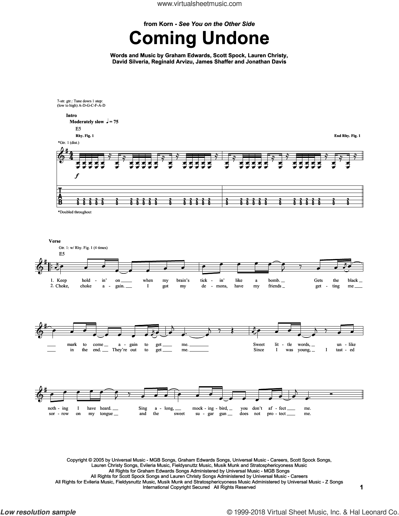 Coming Undone sheet music for guitar (tablature) by Korn, David Randall Silveria, Graham Edwards, James Shaffer, Jonathan Davis, Lauren Christy, Reginald Arvizu and Scott Spock, intermediate. Score Image Preview.