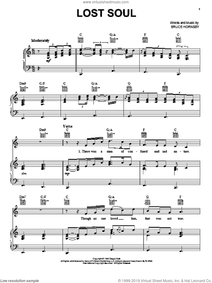 Lost Soul sheet music for voice, piano or guitar by Bruce Hornsby, intermediate skill level