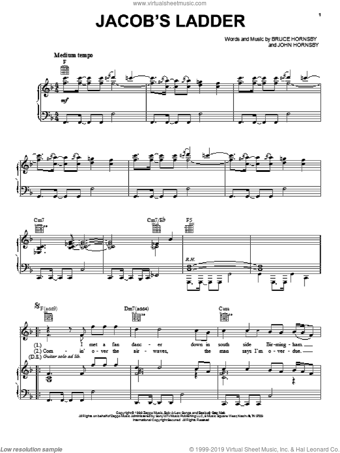 Jacob's Ladder sheet music for voice, piano or guitar by Bruce Hornsby, intermediate voice, piano or guitar. Score Image Preview.