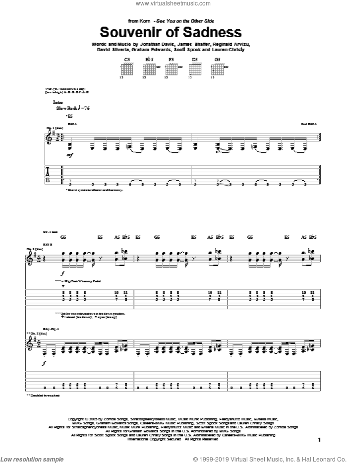 Souvenir Of Sadness sheet music for guitar (tablature) by Korn, David Randall Silveria, Graham Edwards, James Shaffer, Jonathan Davis, Lauren Christy, Reginald Arvizu and Scott Spock, intermediate skill level