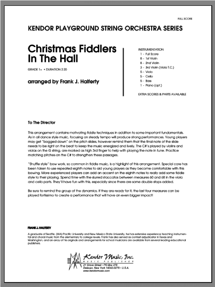 Christmas Fiddlers In The Hall (COMPLETE) sheet music for orchestra by Halferty, classical score, intermediate