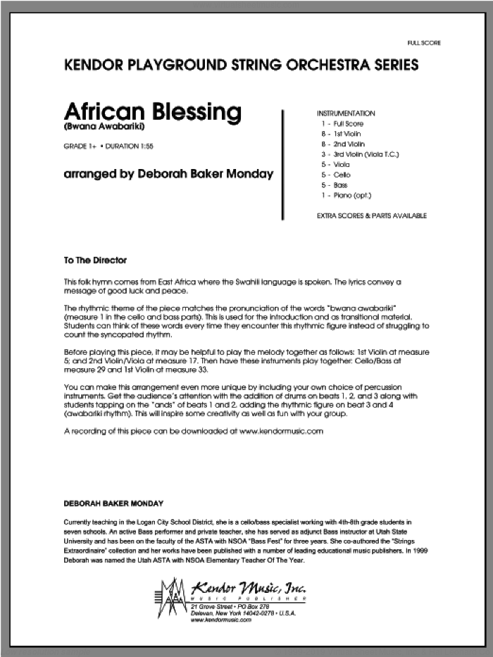 African Blessing (Bwana Awabariki) (COMPLETE) sheet music for orchestra by Monday and Deborah Baker Monday, classical score, intermediate. Score Image Preview.