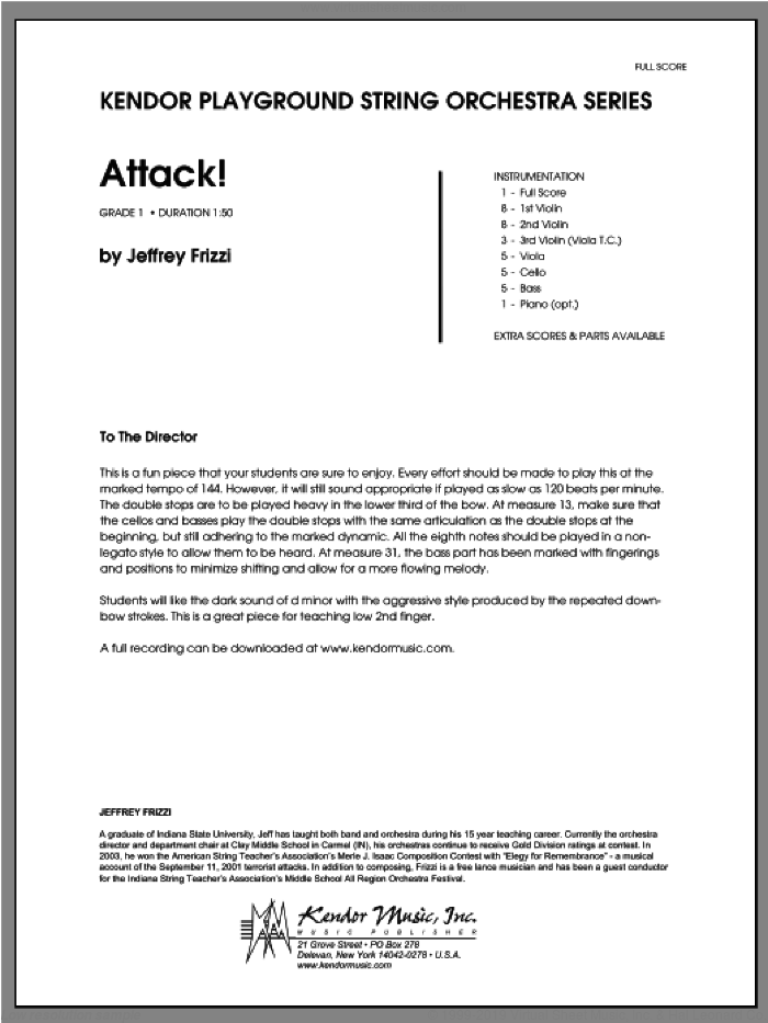 Attack! (COMPLETE) sheet music for orchestra by Jeff Frizzi, classical score, intermediate skill level