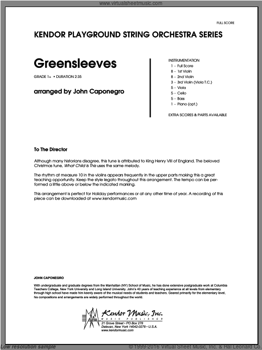 Greensleeves (COMPLETE) sheet music for orchestra by Caponegro, classical score, intermediate. Score Image Preview.