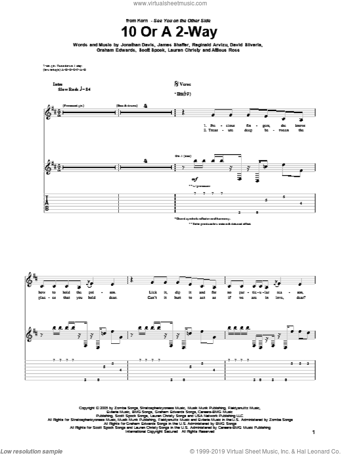 10 Or A 2-Way sheet music for guitar (tablature) by Korn, David Randall Silveria, James Shaffer, Jonathan Davis and Reginald Arvizu, intermediate guitar (tablature). Score Image Preview.