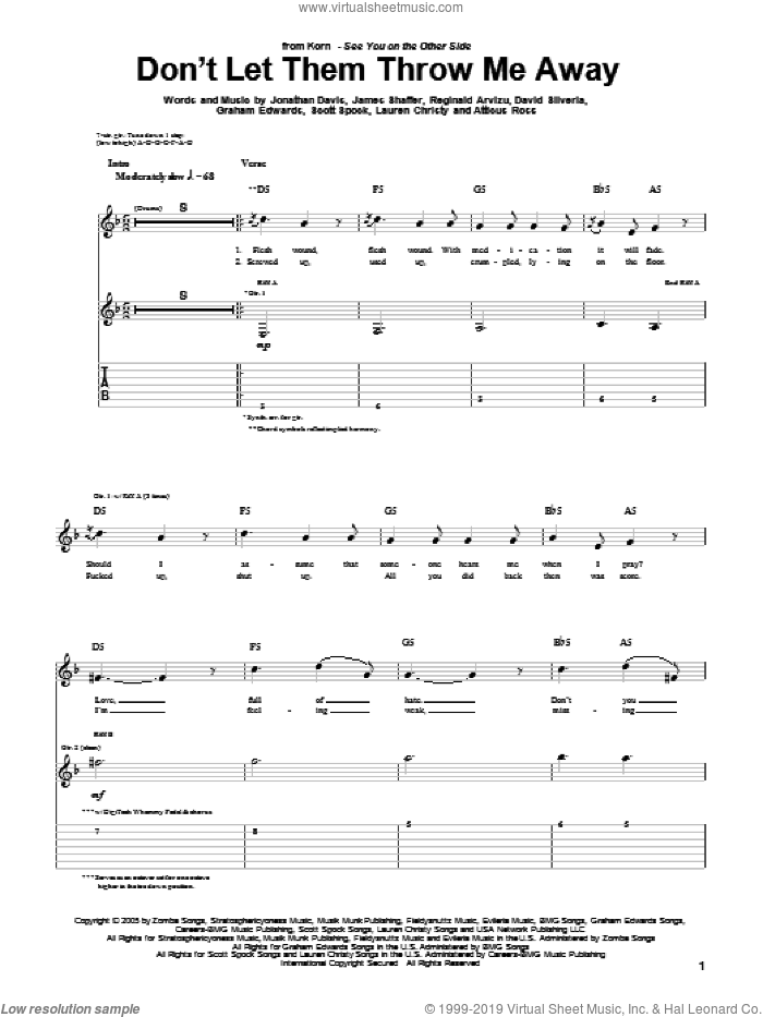 Don't Let Them Throw Me Away sheet music for guitar (tablature) by Scott Spock, Korn, David Randall Silveria, Graham Edwards, James Shaffer, Jonathan Davis, Lauren Christy and Reginald Arvizu. Score Image Preview.