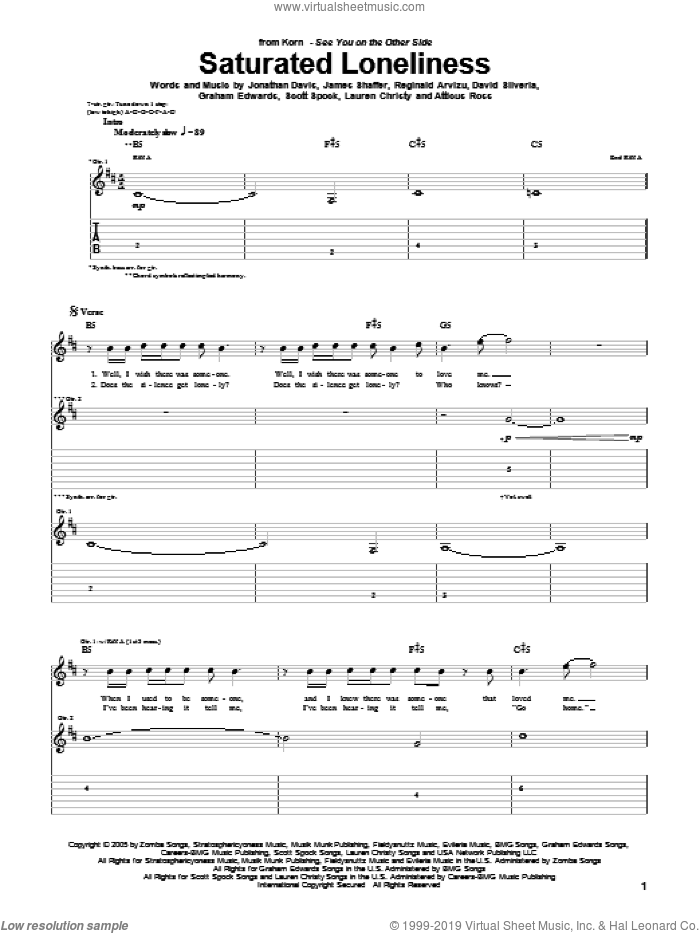 Saturated Loneliness sheet music for guitar (tablature) by Scott Spock