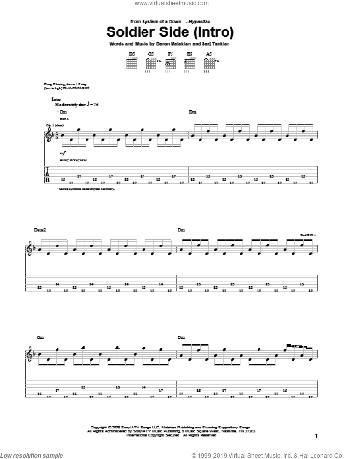Soldier Side sheet music for guitar (tablature) by Serj Tankian and System Of A Down. Score Image Preview.