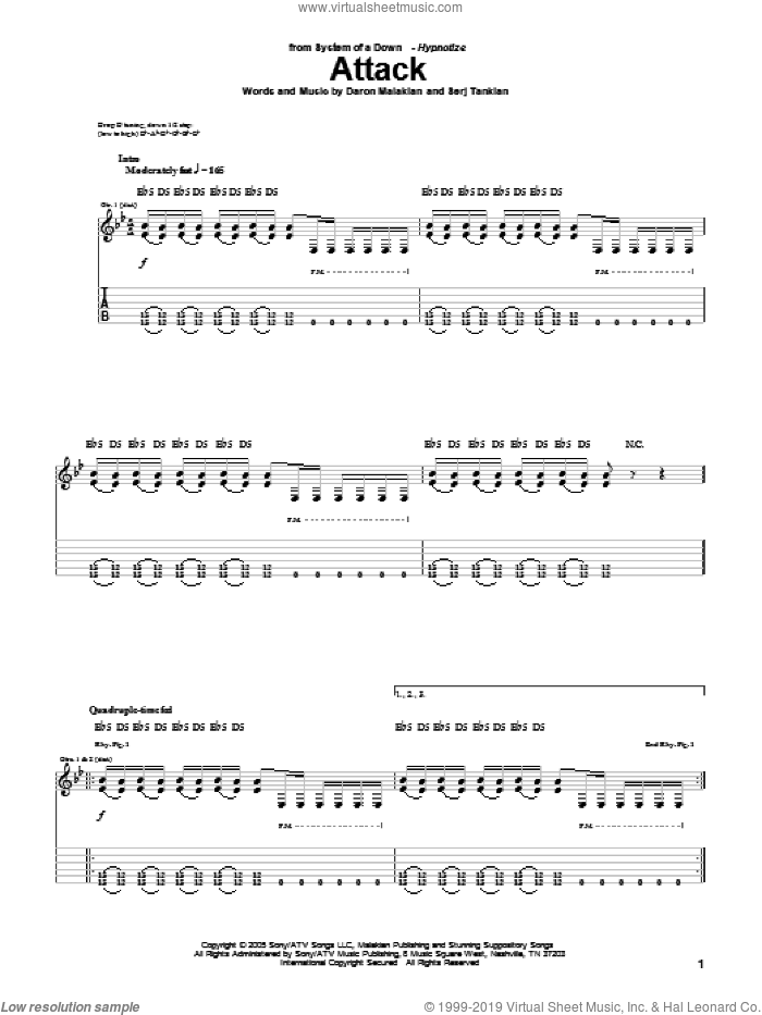 Attack sheet music for guitar (tablature) by Serj Tankian and System Of A Down. Score Image Preview.