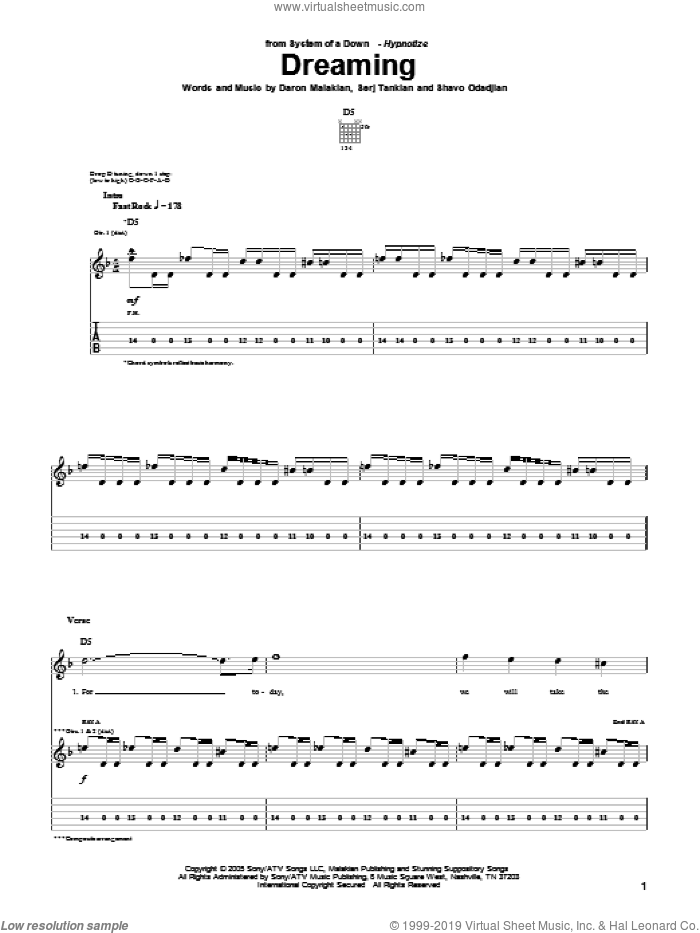 Dreaming sheet music for guitar (tablature) by Shavo Odadjian, System Of A Down and Serj Tankian. Score Image Preview.