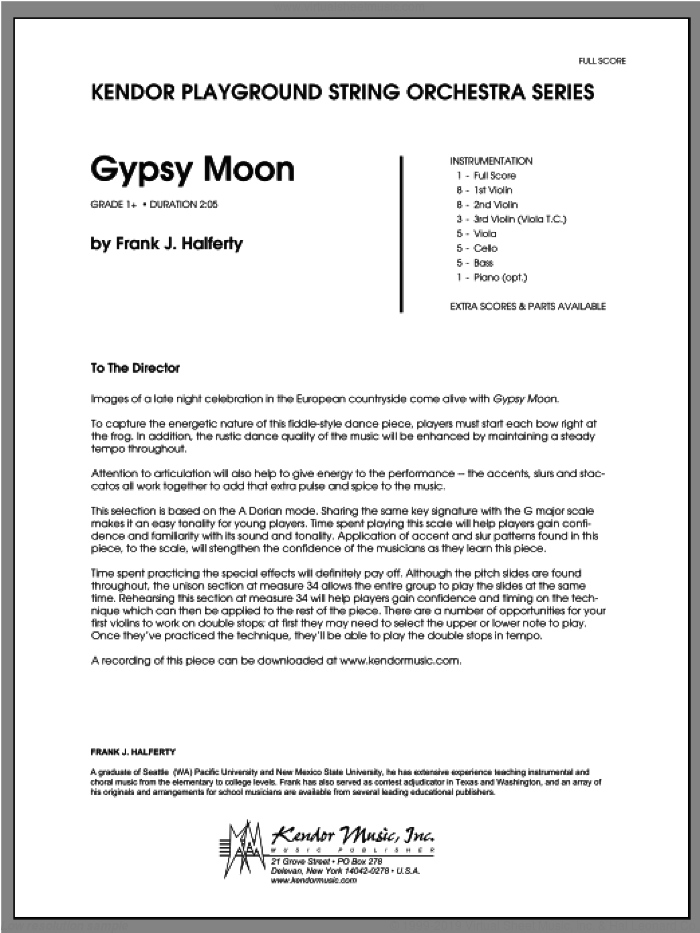 Gypsy Moon (COMPLETE) sheet music for orchestra by Halferty, classical score, intermediate