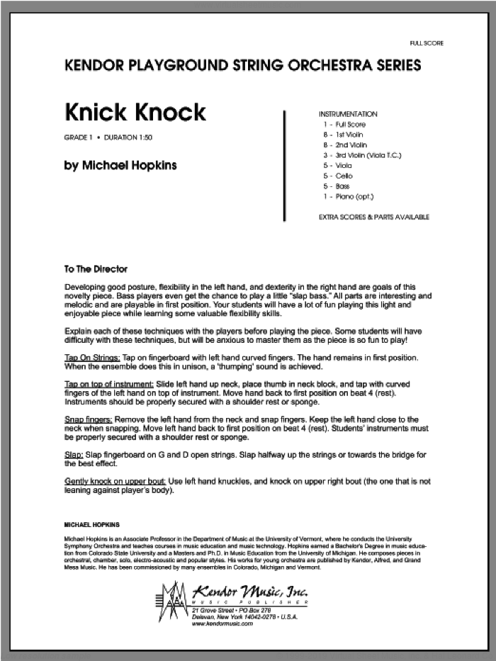 Knick Knock (COMPLETE) sheet music for orchestra by Michael Hopkins, classical score, intermediate skill level