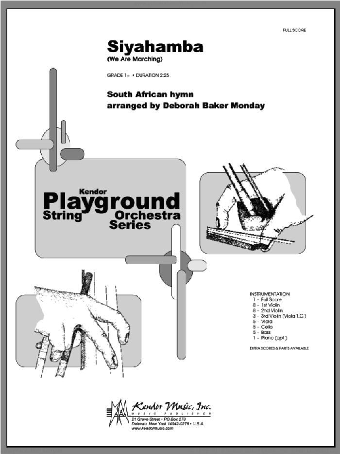 Siyahamba (We Are Marching) (COMPLETE) sheet music for orchestra by Monday, classical score, intermediate. Score Image Preview.
