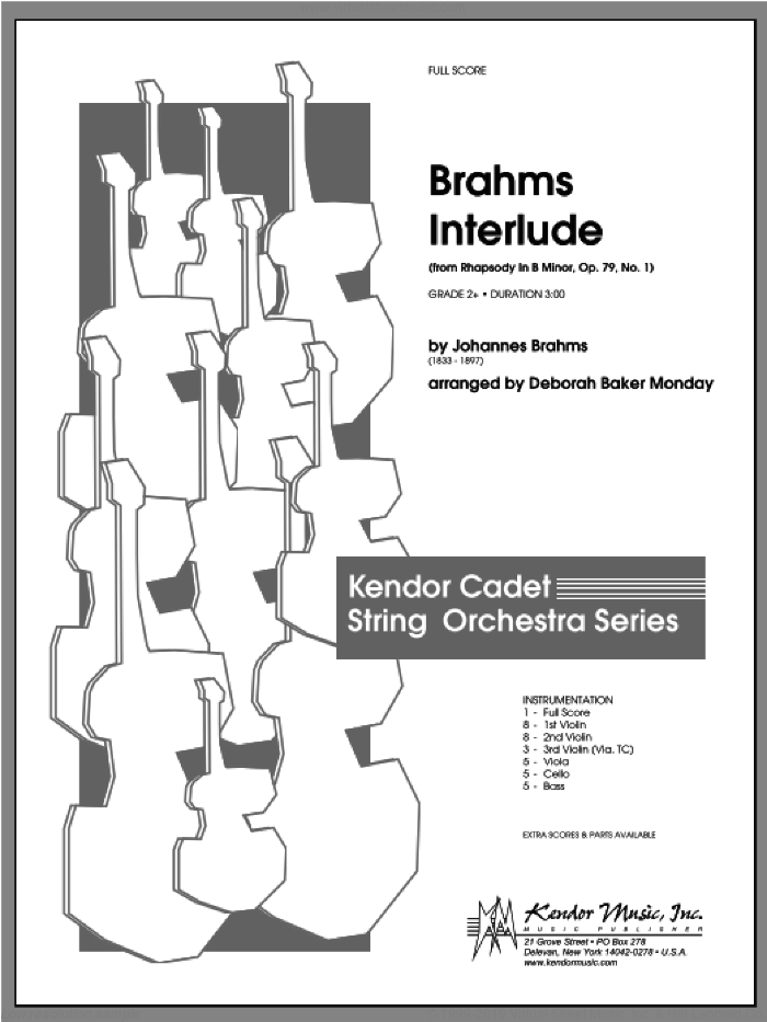 Brahms Interlude (from Rhapsody In B Minor, Op. 79, No. 1) sheet music for orchestra (full score) by Monday and Johannes Brahms. Score Image Preview.