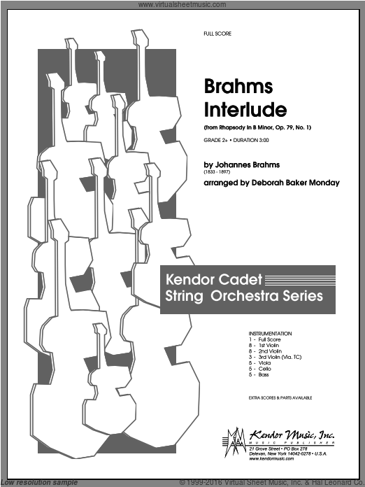 Brahms Interlude (from Rhapsody In B Minor, Op. 79, No. 1) (COMPLETE) sheet music for orchestra by Johannes Brahms and Monday. Score Image Preview.