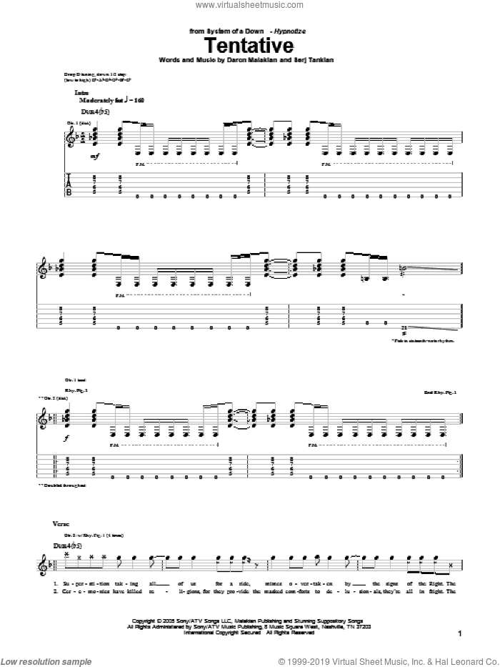 Tentative sheet music for guitar (tablature) by Serj Tankian and System Of A Down. Score Image Preview.