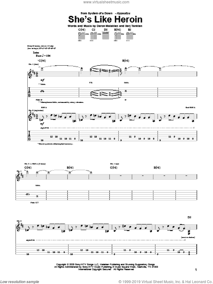 She's Like Heroin sheet music for guitar (tablature) by System Of A Down, Daron Malakian and Serj Tankian, intermediate. Score Image Preview.