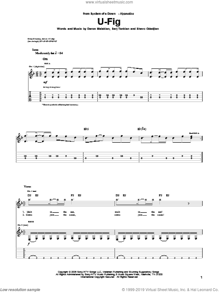 U-Fig sheet music for guitar (tablature) by System Of A Down, Daron Malakian, Serj Tankian and Shavo Odadjian, intermediate. Score Image Preview.