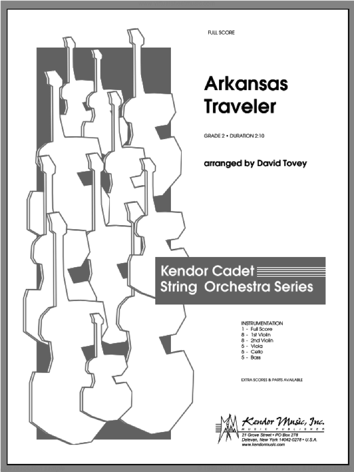 Arkansas Traveler sheet music for orchestra (full score) by Tovey. Score Image Preview.