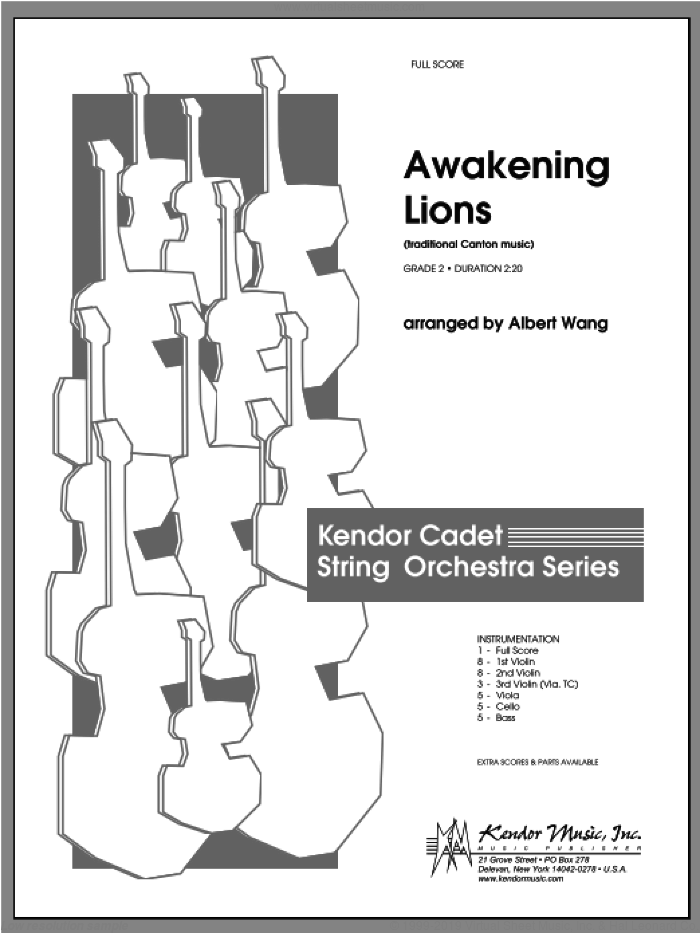 Awakening Lions (traditional Canton music) (COMPLETE) sheet music for orchestra by Wang, classical score, intermediate. Score Image Preview.