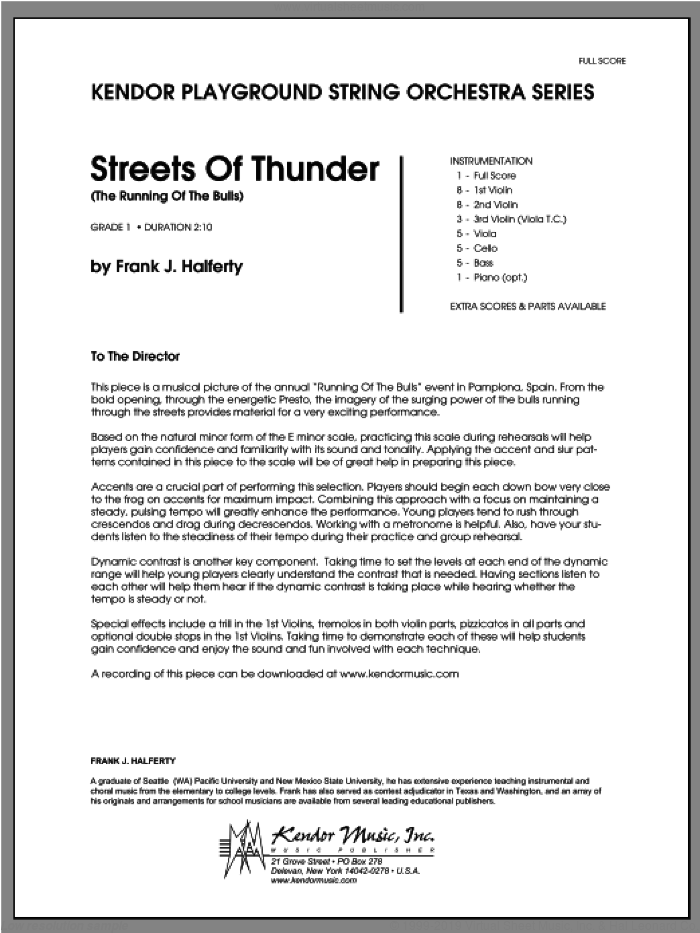 Streets Of Thunder (The Running Of The Bulls) (COMPLETE) sheet music for orchestra by Halferty, classical score, intermediate