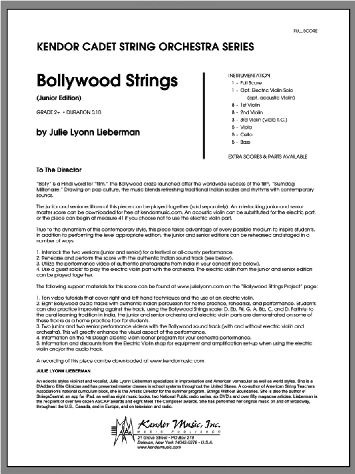 Bollywood Strings (Junior Edition) (COMPLETE) sheet music for orchestra by Julie Lyonn Lieberman, classical score, intermediate skill level