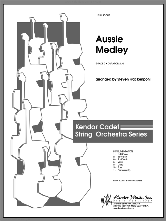 Aussie Medley (COMPLETE) sheet music for orchestra by Steve Frackenpohl, classical score, intermediate skill level