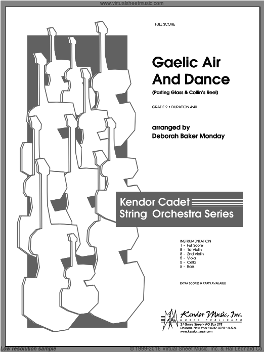 Gaelic Air And Dance (Parting Glass and Collin's Reel) (COMPLETE) sheet music for orchestra by Monday. Score Image Preview.