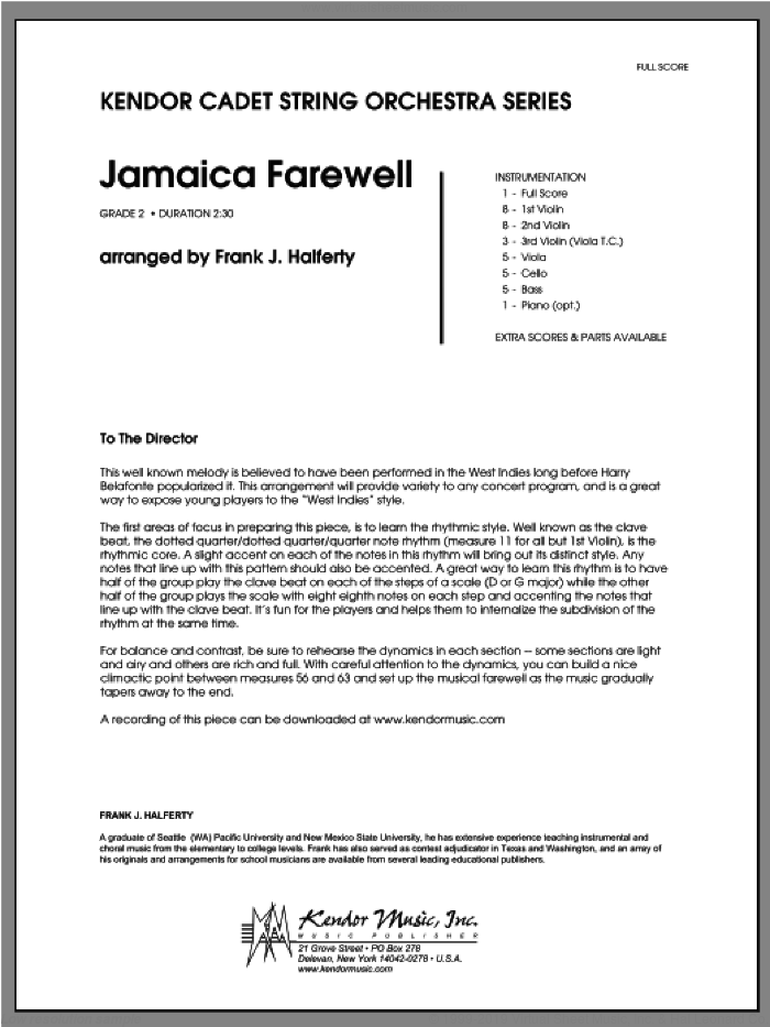 Jamaica Farewell sheet music for orchestra (full score) by Halferty. Score Image Preview.