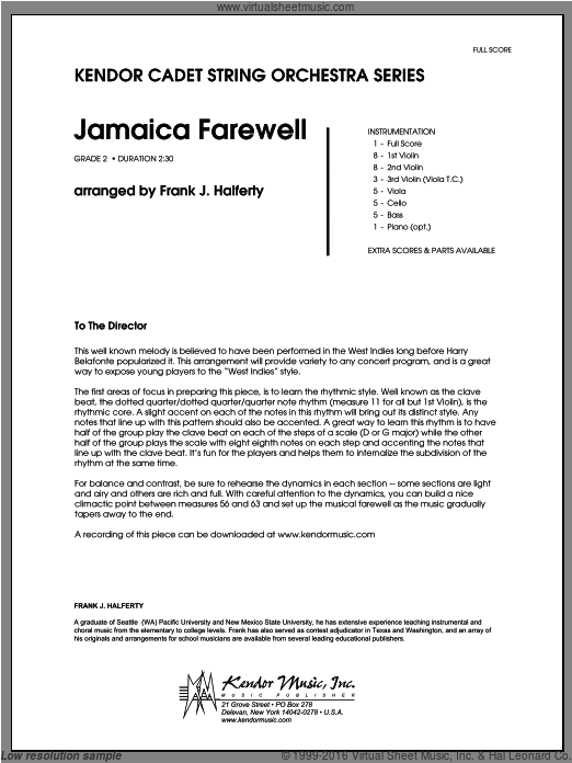 Jamaica Farewell (COMPLETE) sheet music for orchestra by Halferty. Score Image Preview.