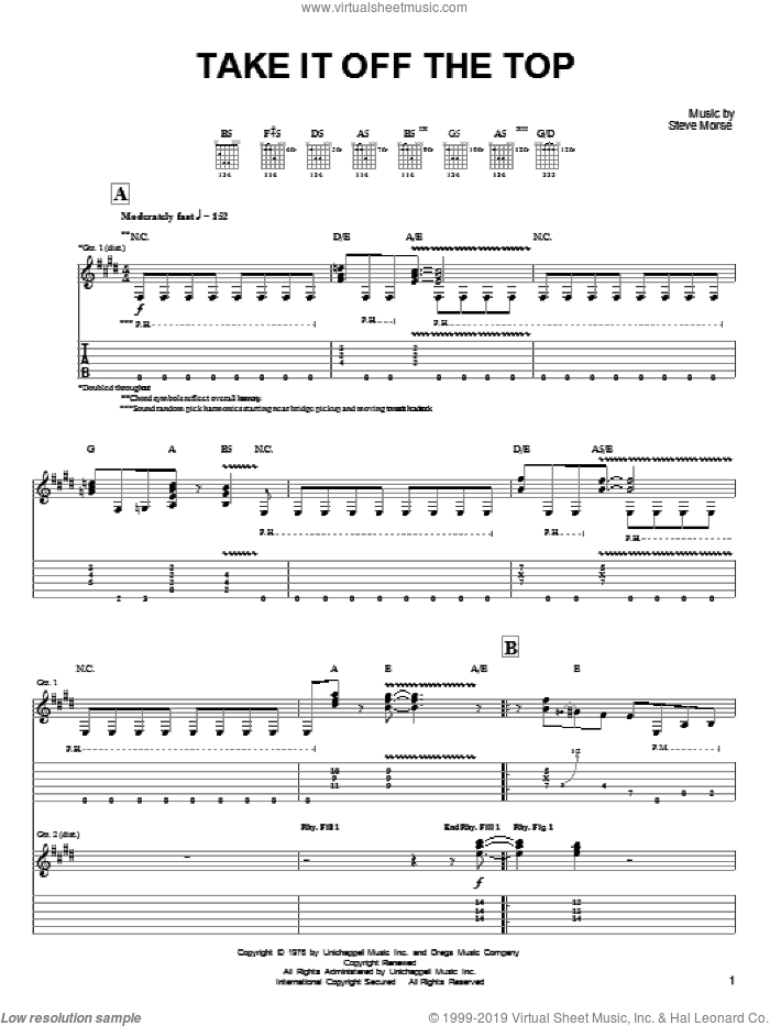 Take It Off The Top sheet music for guitar (tablature) by Steve Morse and Dixie Dregs, intermediate guitar (tablature). Score Image Preview.