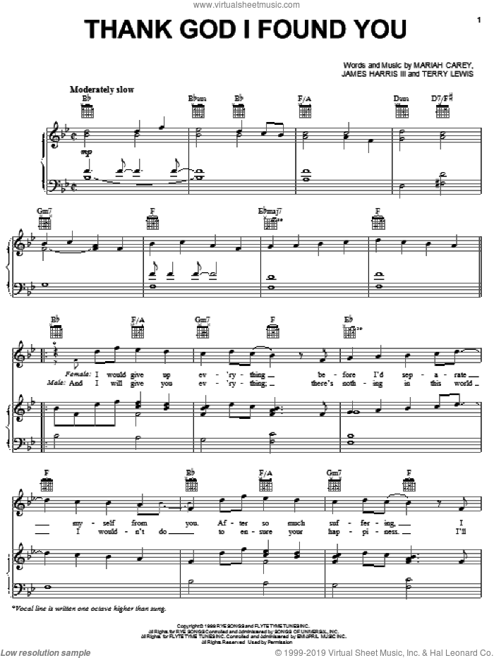 Thank God I Found You sheet music for voice, piano or guitar by Mariah Carey featuring Joe & 98 Degrees, 98 Degrees, Joe, James Harris, Mariah Carey and Terry Lewis, wedding score, intermediate voice, piano or guitar. Score Image Preview.