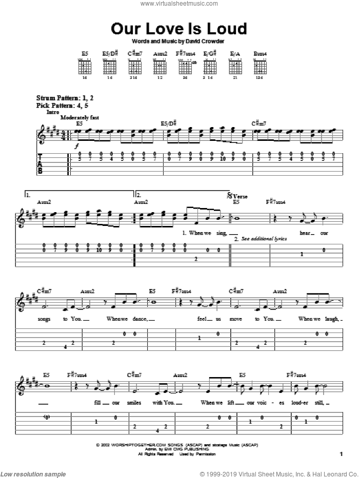 Our Love Is Loud sheet music for guitar solo (easy tablature) by David Crowder Band and David Crowder. Score Image Preview.