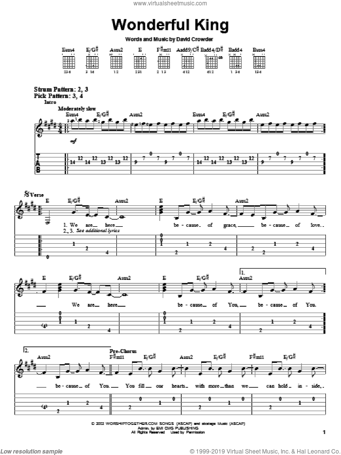 Wonderful King sheet music for guitar solo (easy tablature) by David Crowder Band and David Crowder, easy guitar (easy tablature)