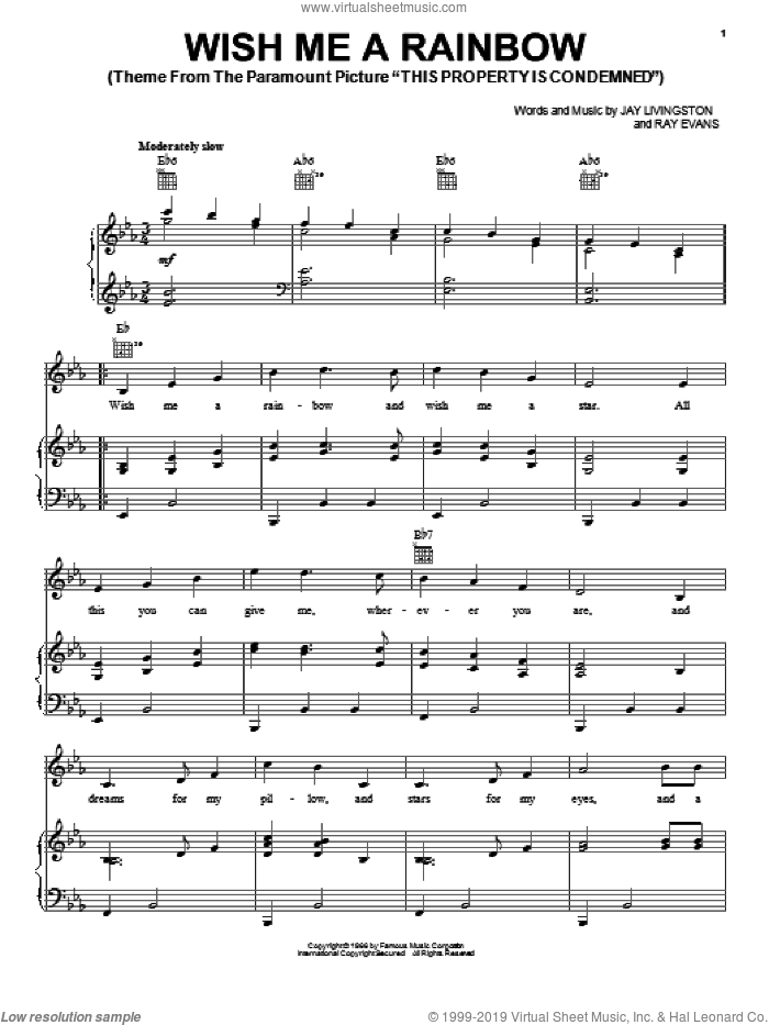 Wish Me A Rainbow sheet music for voice, piano or guitar by Jay Livingston and Ray Evans, intermediate