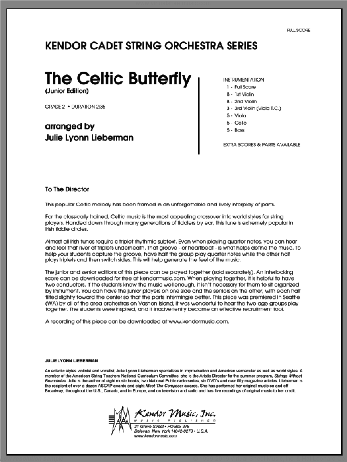 Celtic Butterfly, The (Junior Edition) (COMPLETE) sheet music for orchestra by Julie Lyonn Lieberman, classical score, intermediate. Score Image Preview.