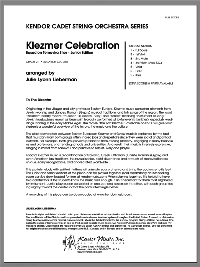Klezmer Celebration (based on Ternovka Sher) (Junior Edition) (COMPLETE) sheet music for orchestra by Julie Lyonn Lieberman, classical score, intermediate