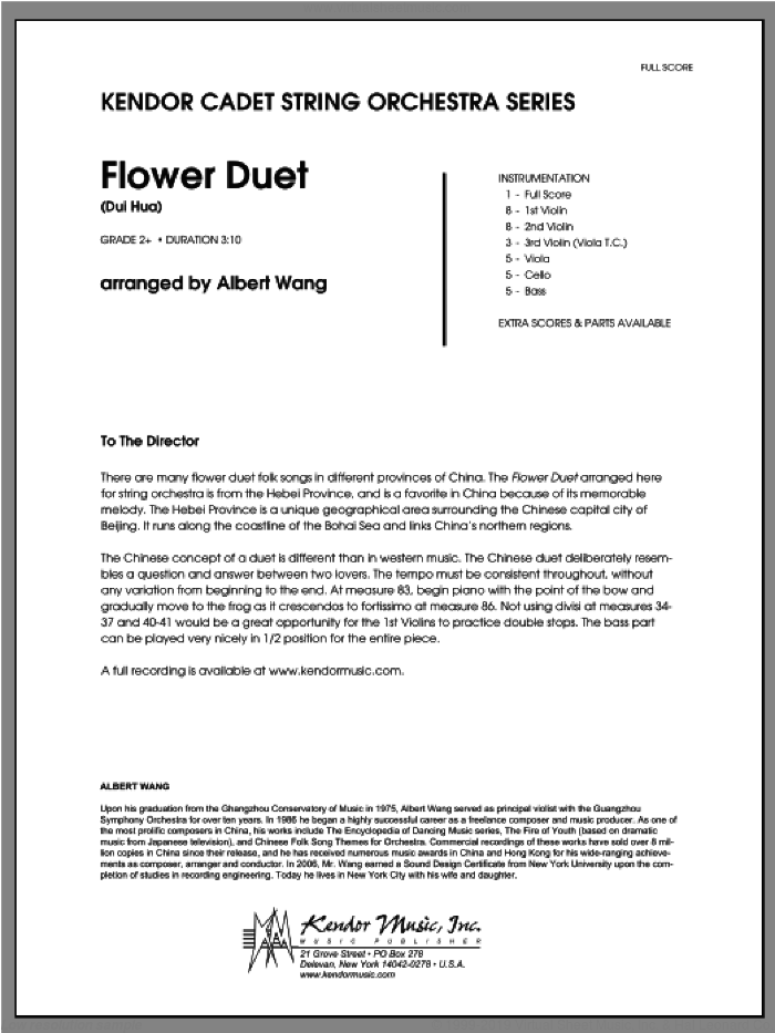 Flower Duet (Dui Hua) (COMPLETE) sheet music for orchestra by Wang, classical score, intermediate orchestra. Score Image Preview.