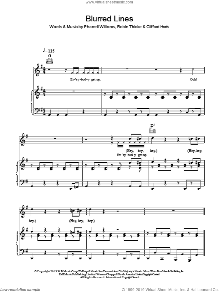 Blurred Lines sheet music for voice, piano or guitar by Pharrell Williams, Clifford Harris and Robin Thicke. Score Image Preview.