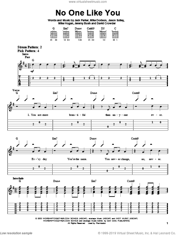 No One Like You sheet music for guitar solo (easy tablature) by David Crowder Band and David Crowder. Score Image Preview.
