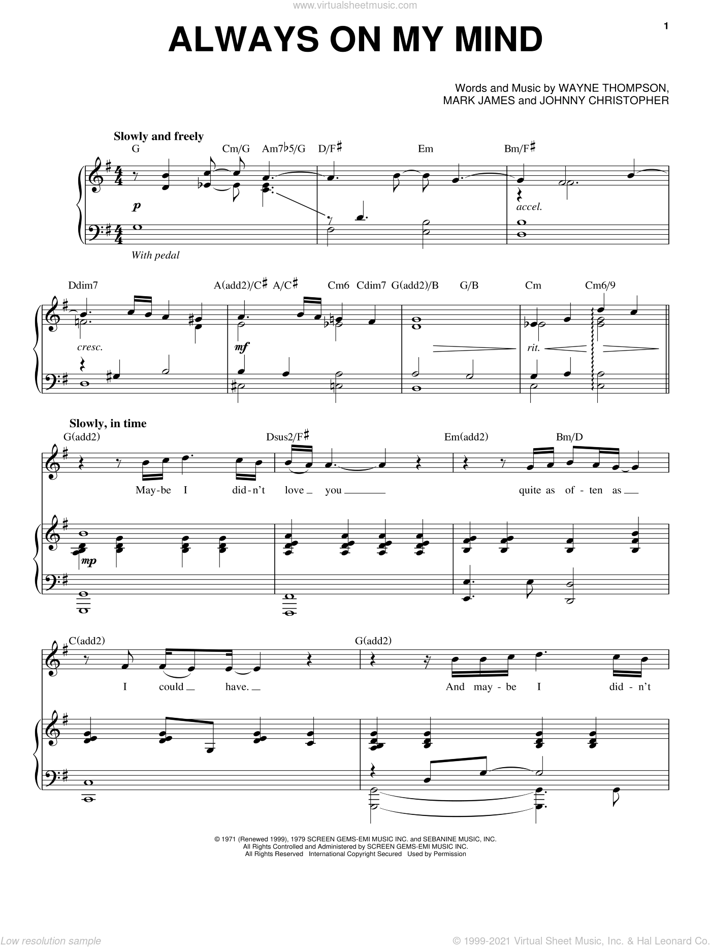 Always On My Mind sheet music for voice and piano by Chris Mann, intermediate skill level