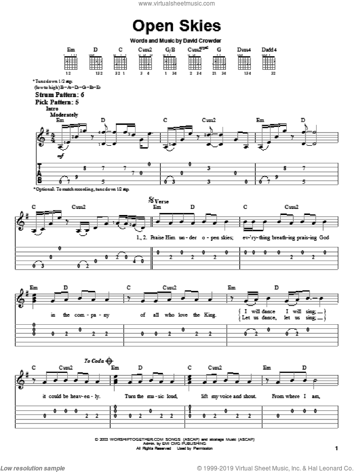 Open Skies sheet music for guitar solo (easy tablature) by David Crowder Band and David Crowder, easy guitar (easy tablature)