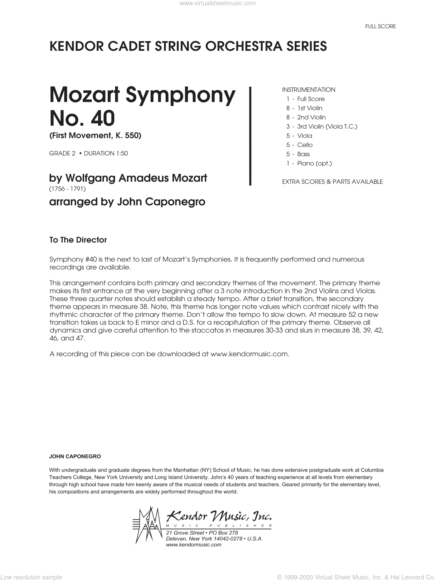 Mozart Symphony No. 40 (First Movement, K. 550) sheet music for orchestra (full score) by Caponegro and Wolfgang Amadeus Mozart. Score Image Preview.