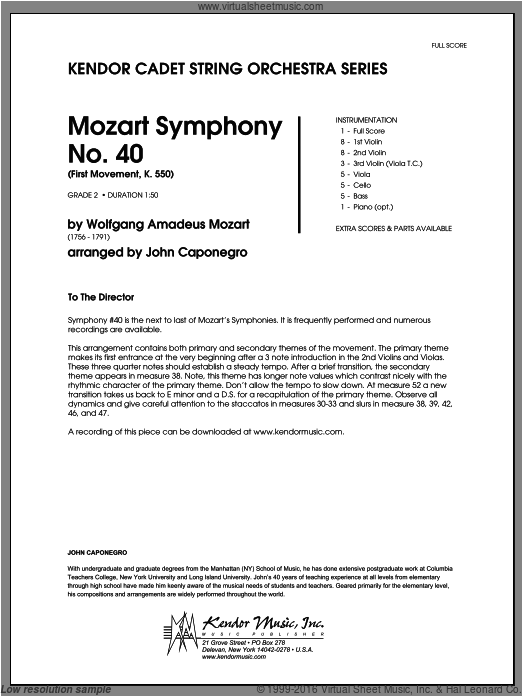 Mozart Symphony No. 40 (First Movement, K. 550) (COMPLETE) sheet music for orchestra by Wolfgang Amadeus Mozart and Caponegro, classical score, intermediate. Score Image Preview.