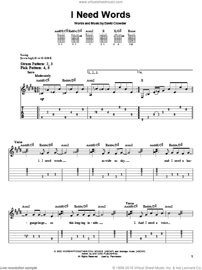 I Need Words sheet music for guitar solo (easy tablature) by David Crowder Band and David Crowder, easy guitar (easy tablature)