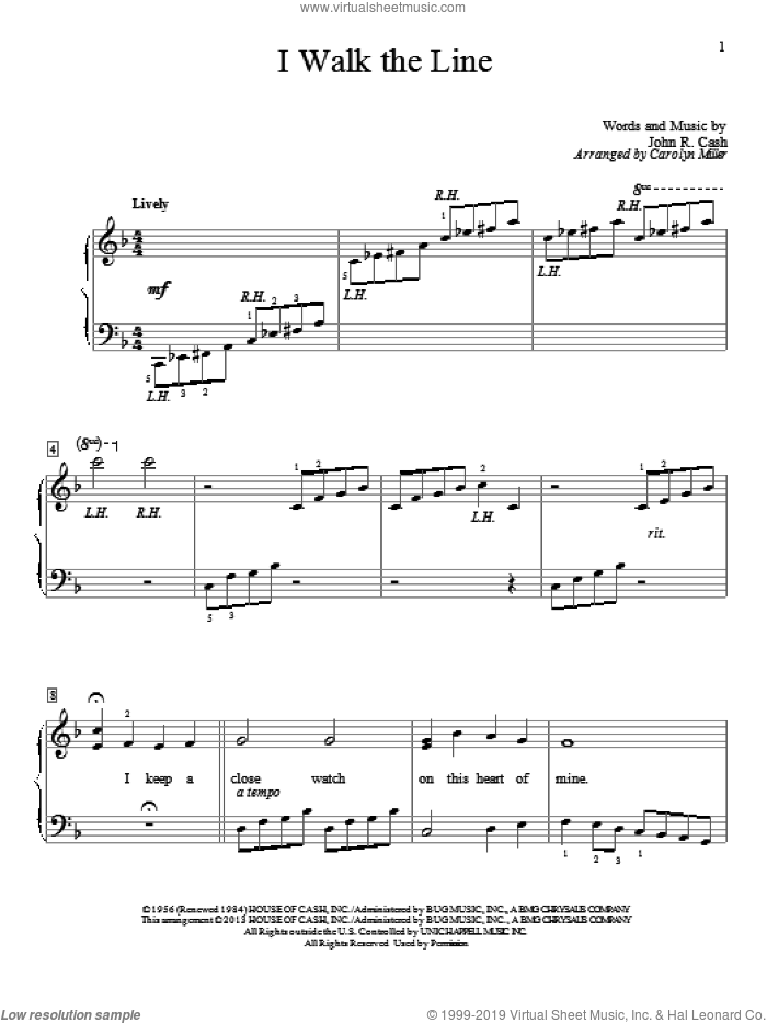 I Walk The Line sheet music for piano solo (elementary) by Johnny Cash and Carolyn Miller, beginner piano (elementary)